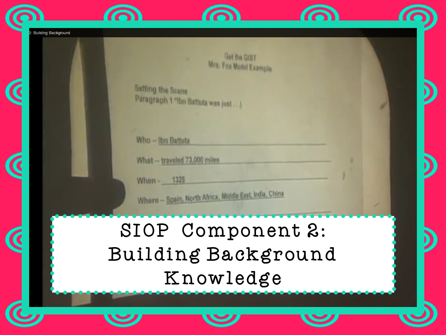 SIOP ESL/ELL Teaching Method Component 2 Building
