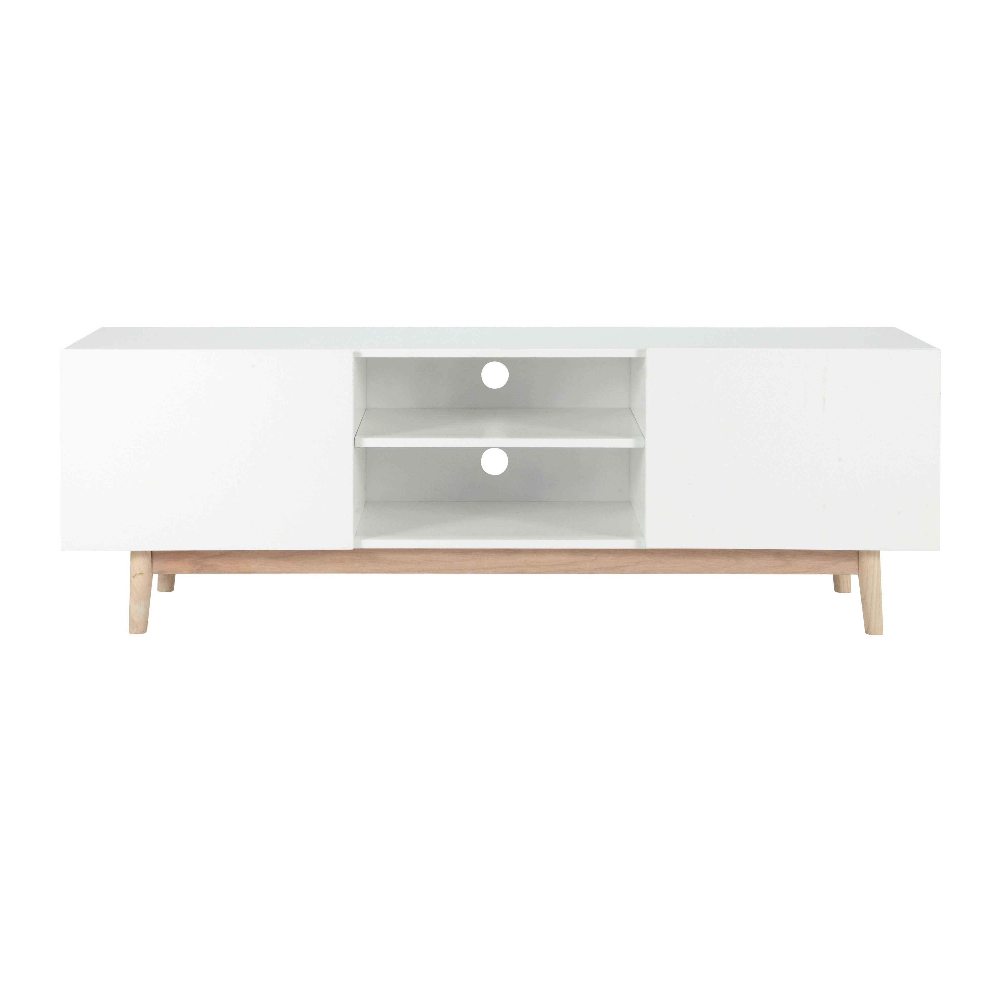 Tv bank holz vintage  TV-Möbel im Vintage-Stil aus Holz weiß B 150 cm - Artic Artic ...