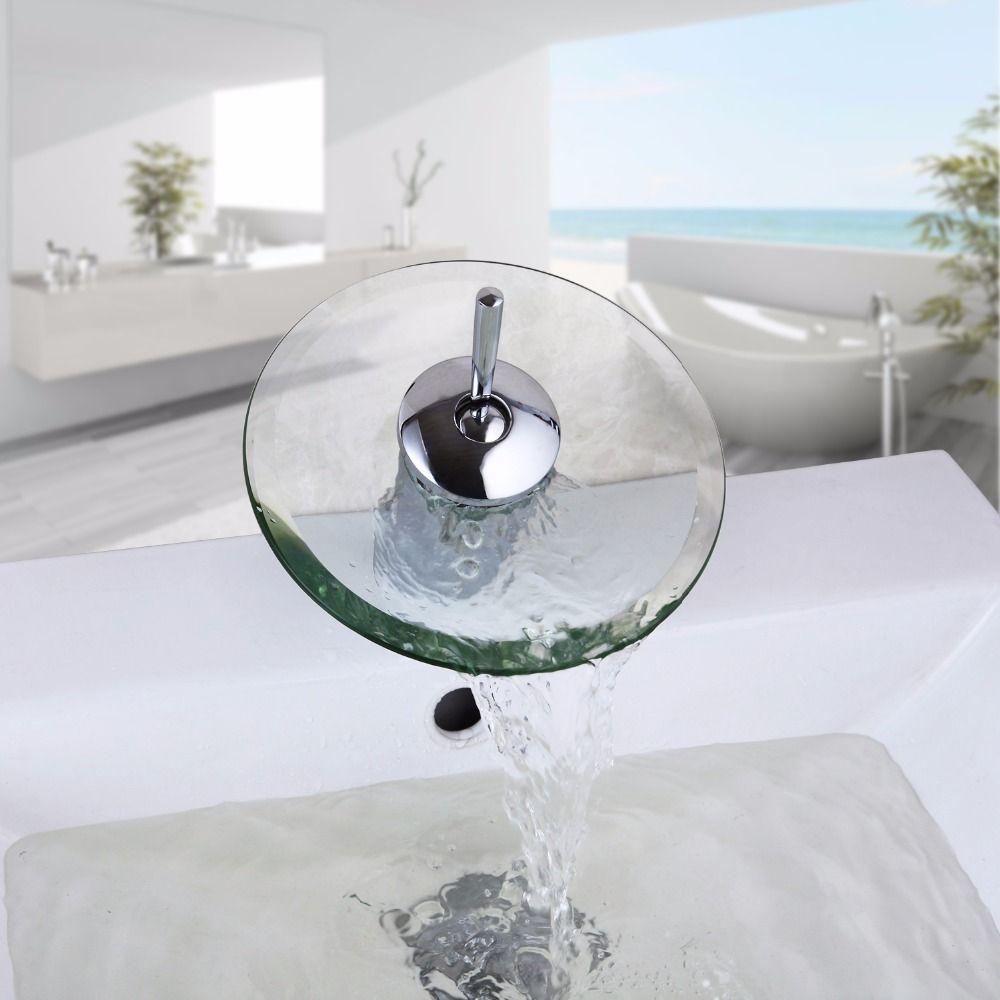RU Bathroom Faucet Chrome Brass Single HandleWaterfall Basin Sink ...