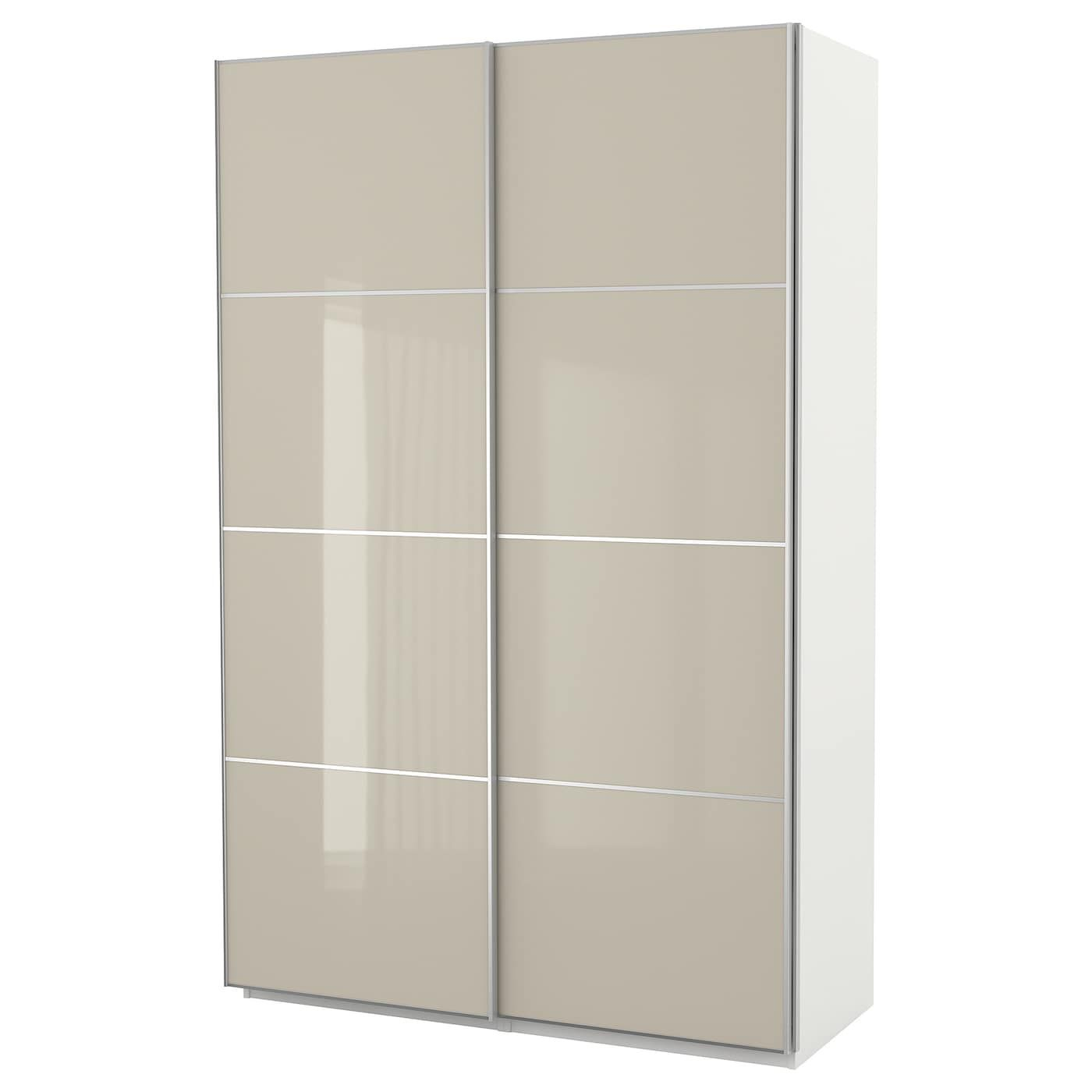 Ikea Pax Wardrobe White Hokksund High Gloss Light Beige