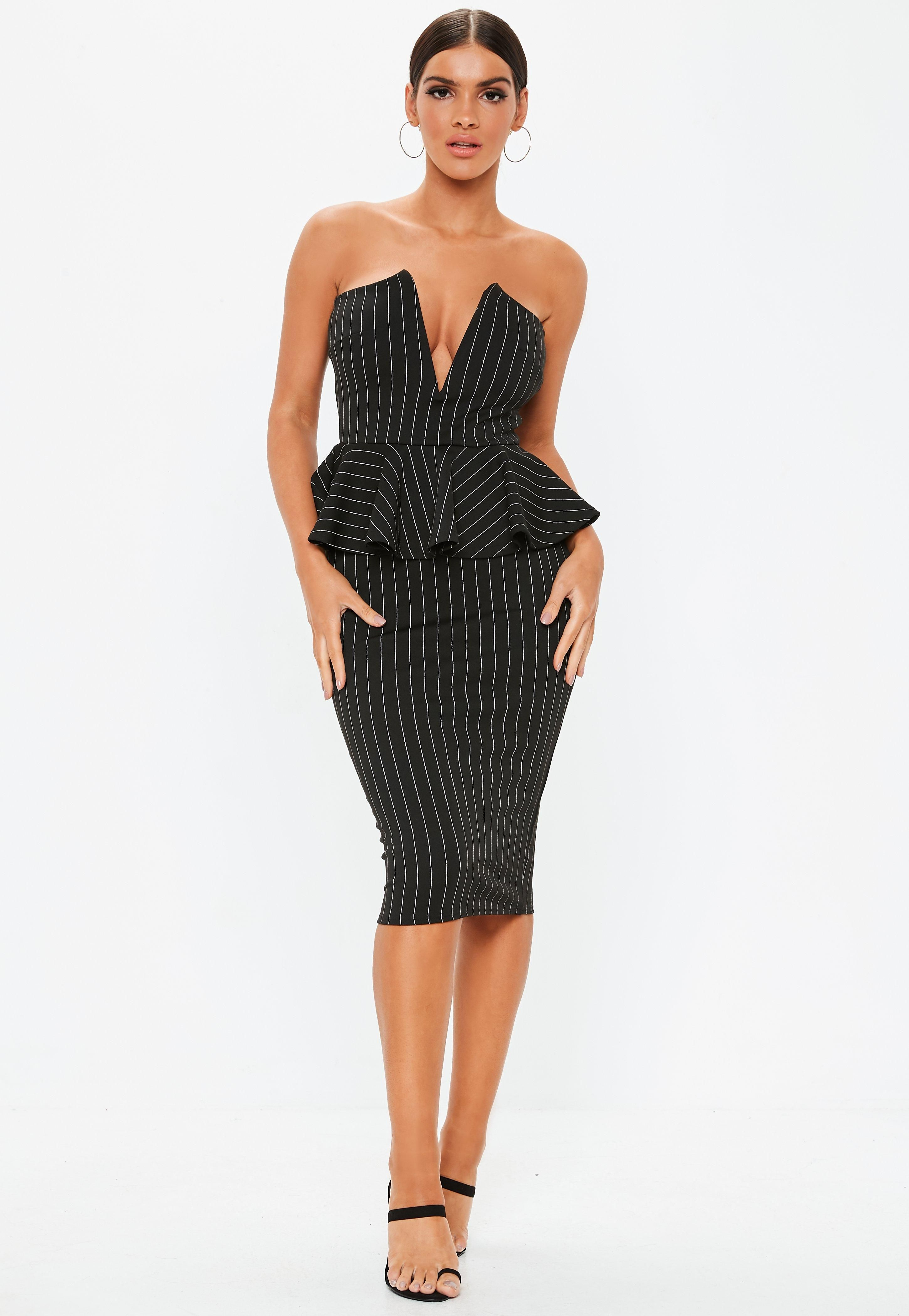 440674772f3 Black Pinstripe Bandeau Peplum Midi Dress in 2019 | Clothes | Peplum ...