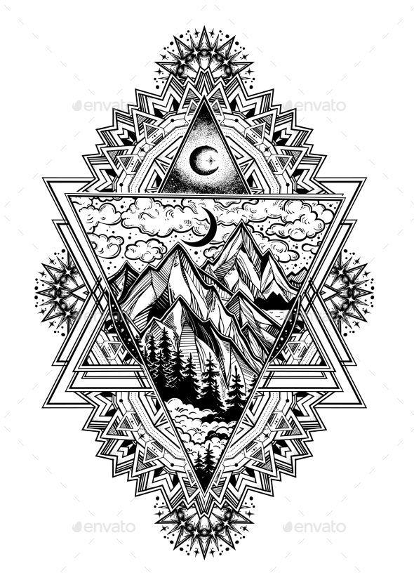 Ornement Cadre décoratif avec Triangle Art décoratif cadre fleuri avec l'art triangle. Wilderness