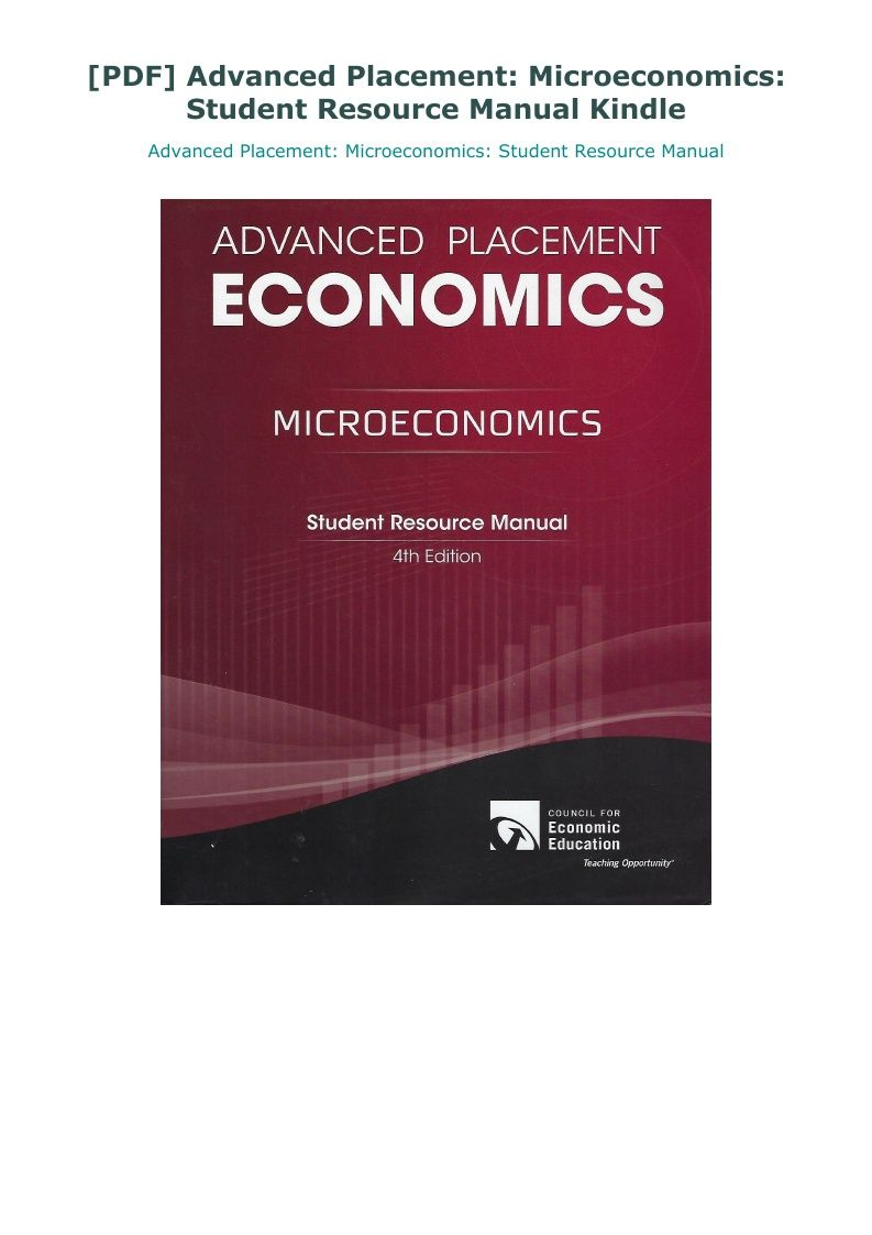 Pdf Advanced Placement Microeconomics Student Resource Manual Kindle Student Resources Student Advanced Placement