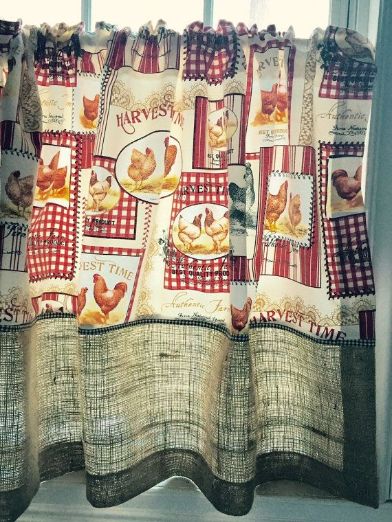 Farmhouse kitchen cafe curtains by RusticFrenchDecor on