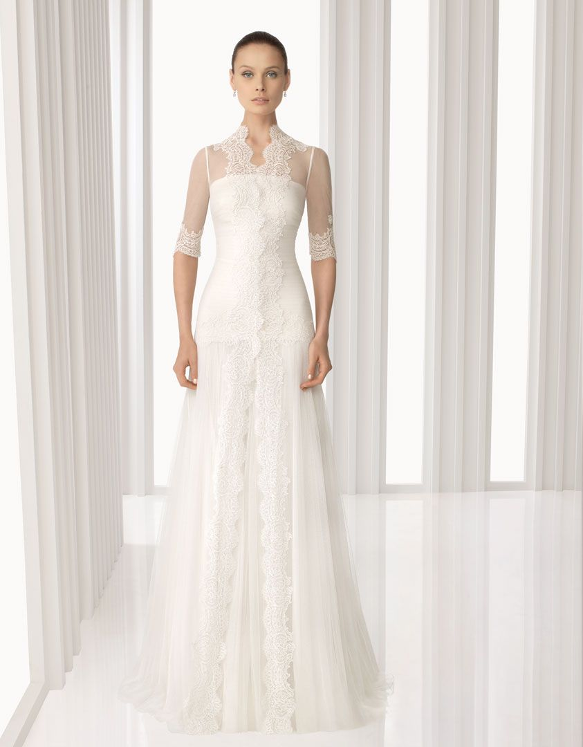 Amarile tulle and rebrodé lace dress with tulle and rebrodé lace