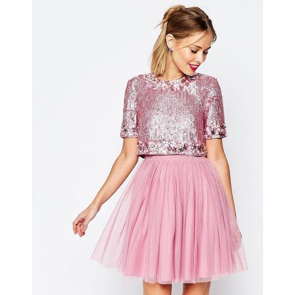 ASOS SALON Crystal Crop Top Tutu Netted Mini Skater Dress ($190 ...