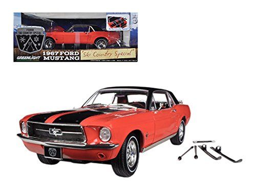 1967 Ford Mustang Coupe Ski Country Special Aspen Red With Black Stripes And Black Vinyl Roof And A Pair Of Skies Ford Mustang Coupe Mustang Coupe Car Model
