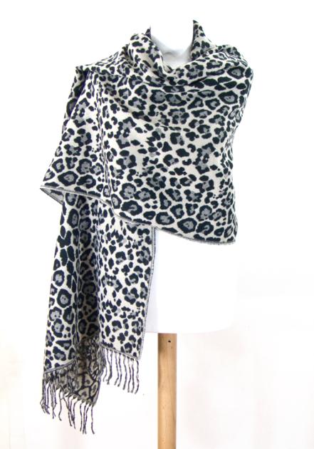 Châle en laine noir léopard - Châle-Poncho - Mes Echarpeshttp   www ... 4e40eb7e5d8