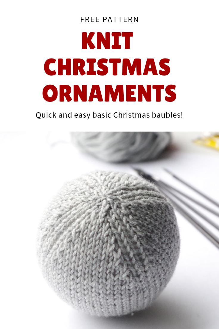 Knitting Pattern For Basic Christmas Ball Ornament Knit Christmas Ornaments Christmas Knitting Knitted Christmas Decorations