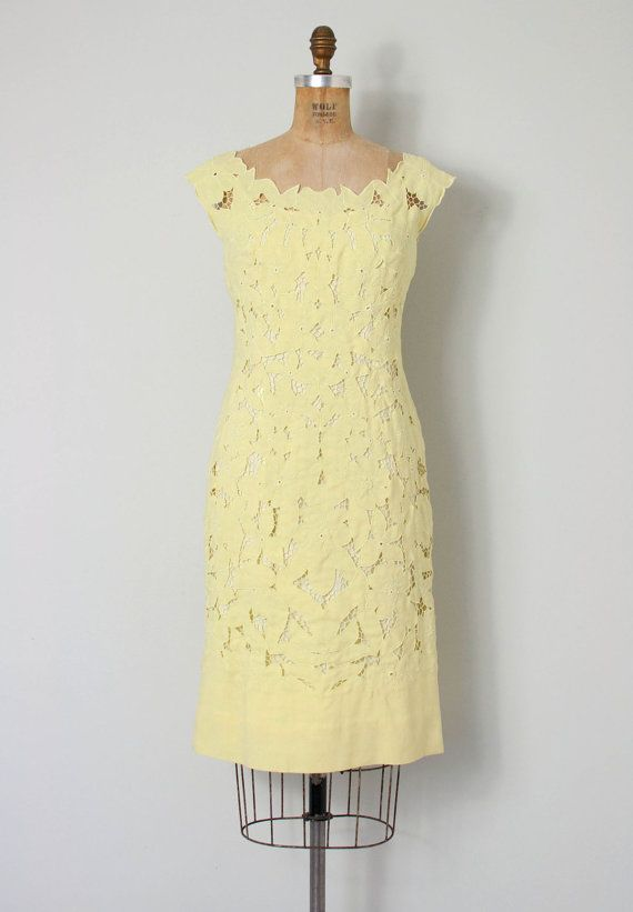 20% OFF SALE... vintage 1950s dress / 50s yellow by SwaneeGRACE