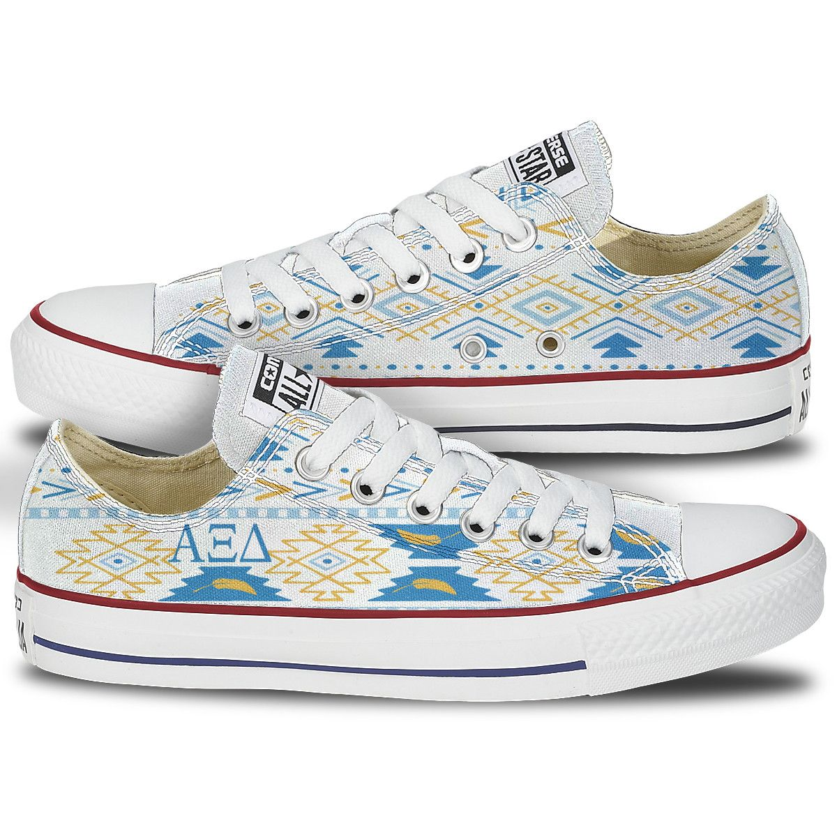 766688e6d3ef Alpha Xi Tribal Pattern Converse Low Tops - This pair of classic converse  chucks features ΑΞΔ in a complete canvas Tribal Pattern .