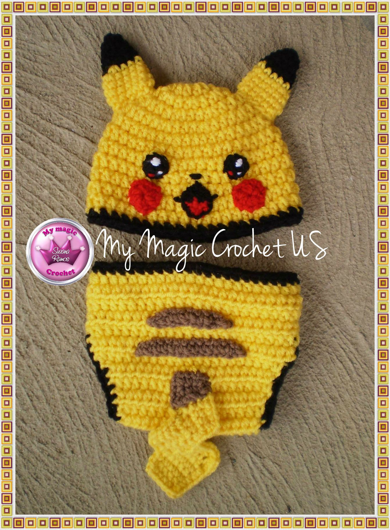 Pikachu Diaper Cover And Crochet Hat For Baby Character Hats