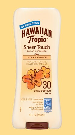 hawaian tropic. SPF 30 Sheer Touch Ultra Radiance. lotion sunscreen offers triple enhancement for radiant skin: protects, softens, and leaves skin glowing. This ultra-conditioning formula leaves skin soft and luminous. It is infused with shea butter complex and mango fruit extract. Indulge in the beauty of sun protection. 9