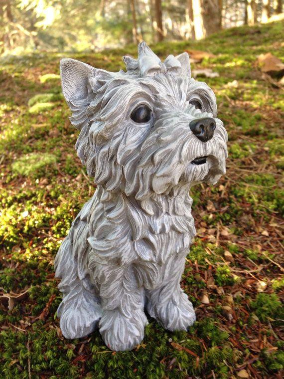 Attractive Yorkshire Terrier Garden Statue Yorkie Figure Cute By FireKDesigns
