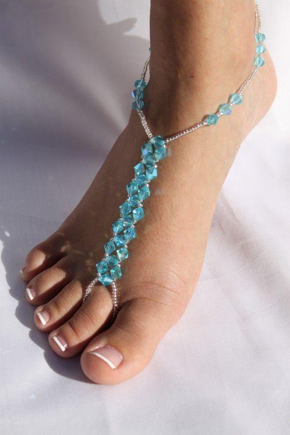 Barefoot Sandals Bridal Crystal Beach Wedding Foot By ABiddaBling