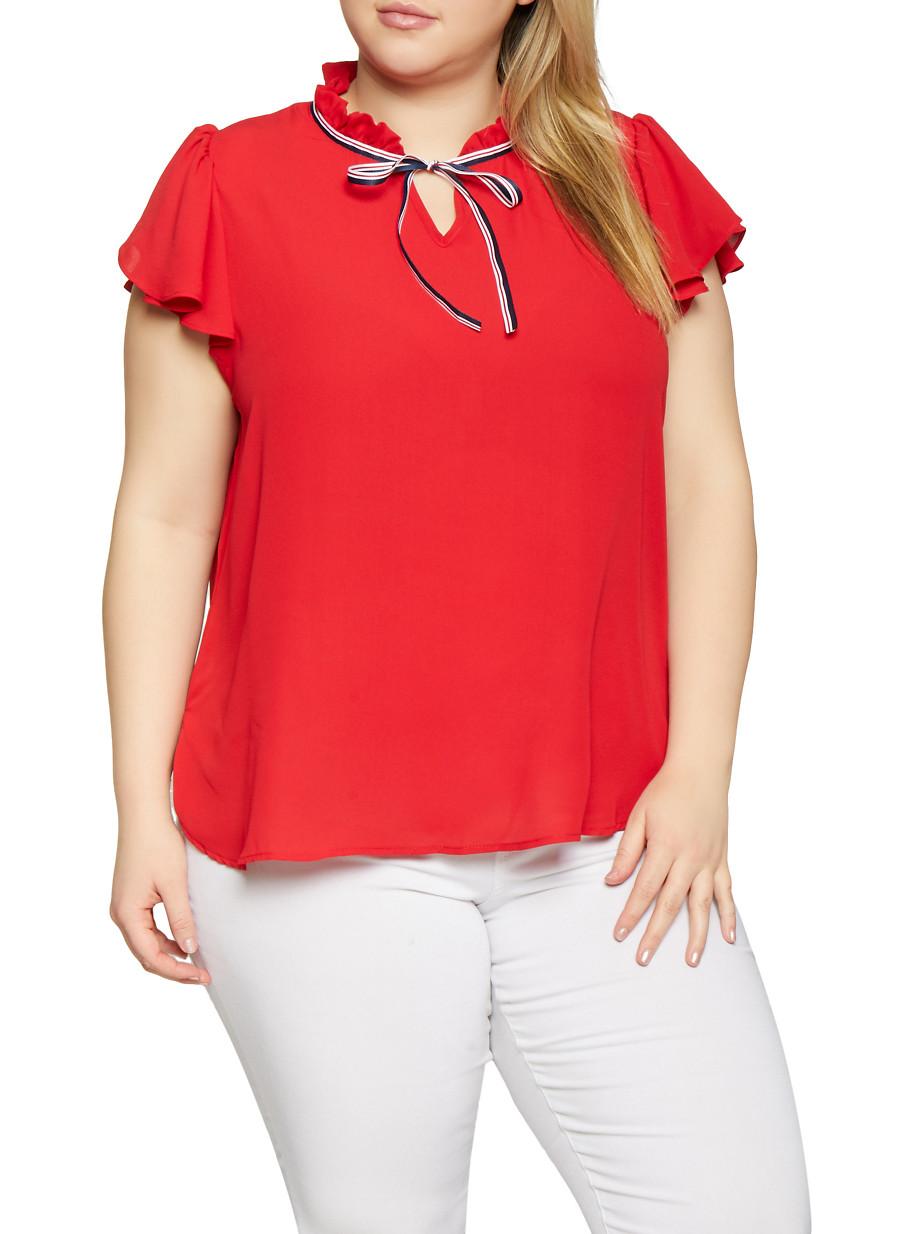 24e98d2d901e Plus Size Ruffled Tie Neck Blouse - RED - Size 2X