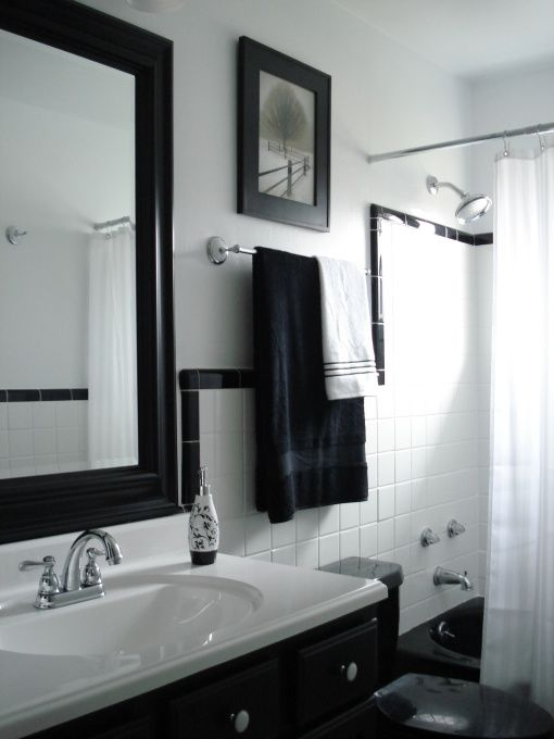 Information About Rate My Space White Bathroom Tiles Black And