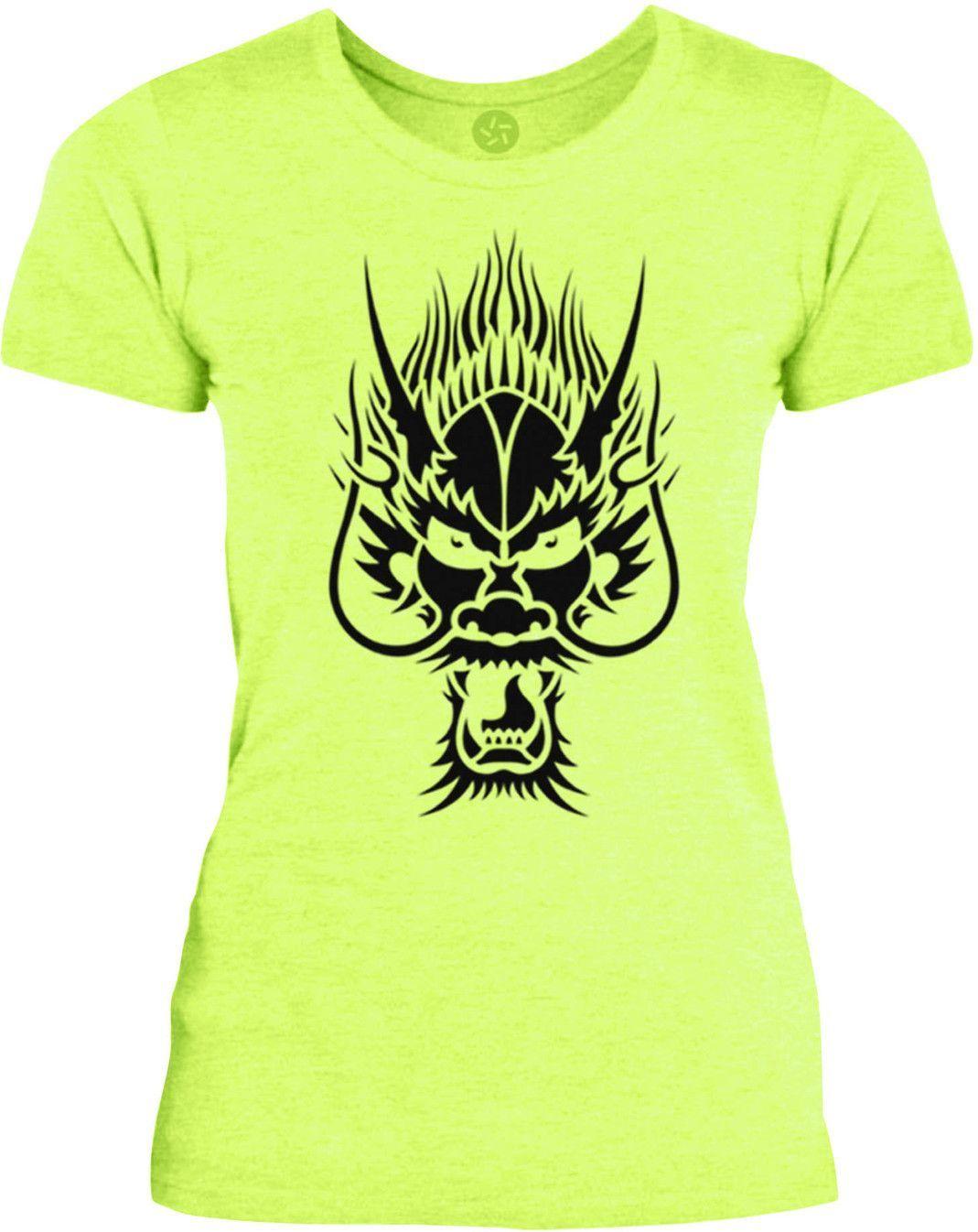 Big Texas Dragon Face (Black) Womens Fine Jersey T-Shirt
