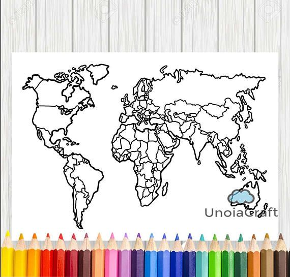 Blank world map coloring page printable world map sheet travel map blank world map coloring page printable world map sheet travel map diy print coloring download pdf etsy sales tracker map geography map publicscrutiny Gallery