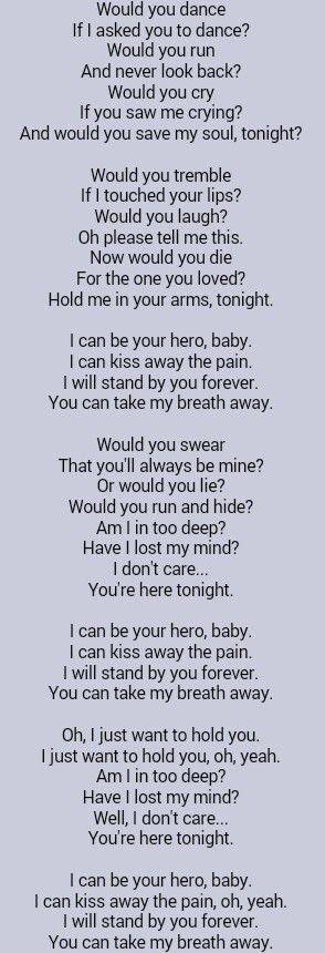 I Can Be Your Hero Spanish Lyrics : spanish, lyrics, Enrique, Iglesias, First, Dance., Tattooed, Great, Lyrics,, Music, Quotes,, Lyrics