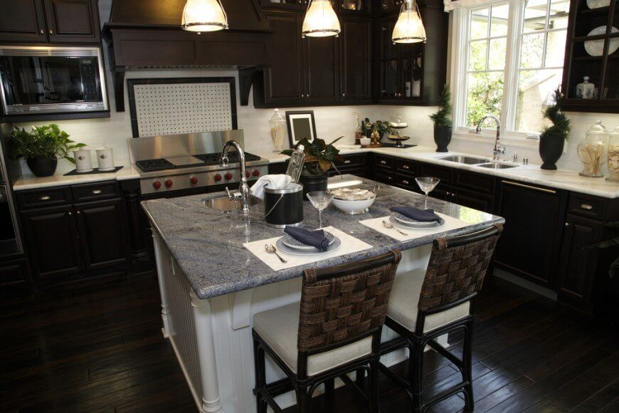 34 Kitchens With Dark Wood Floors Pictures  Islands Grey And Mesmerizing Kitchen Island Cabinet Design 2018