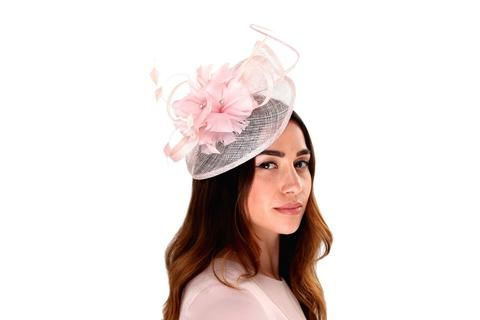 Baby Pink Shimmer Crystal Feather Flower Fascinator -Peter Bettley-Tegen  Accessories 686698e9c29