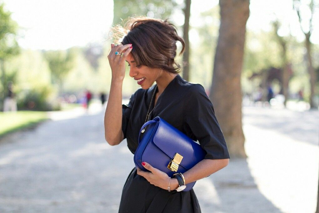 Blue Box Bag w/ Gold Hardware