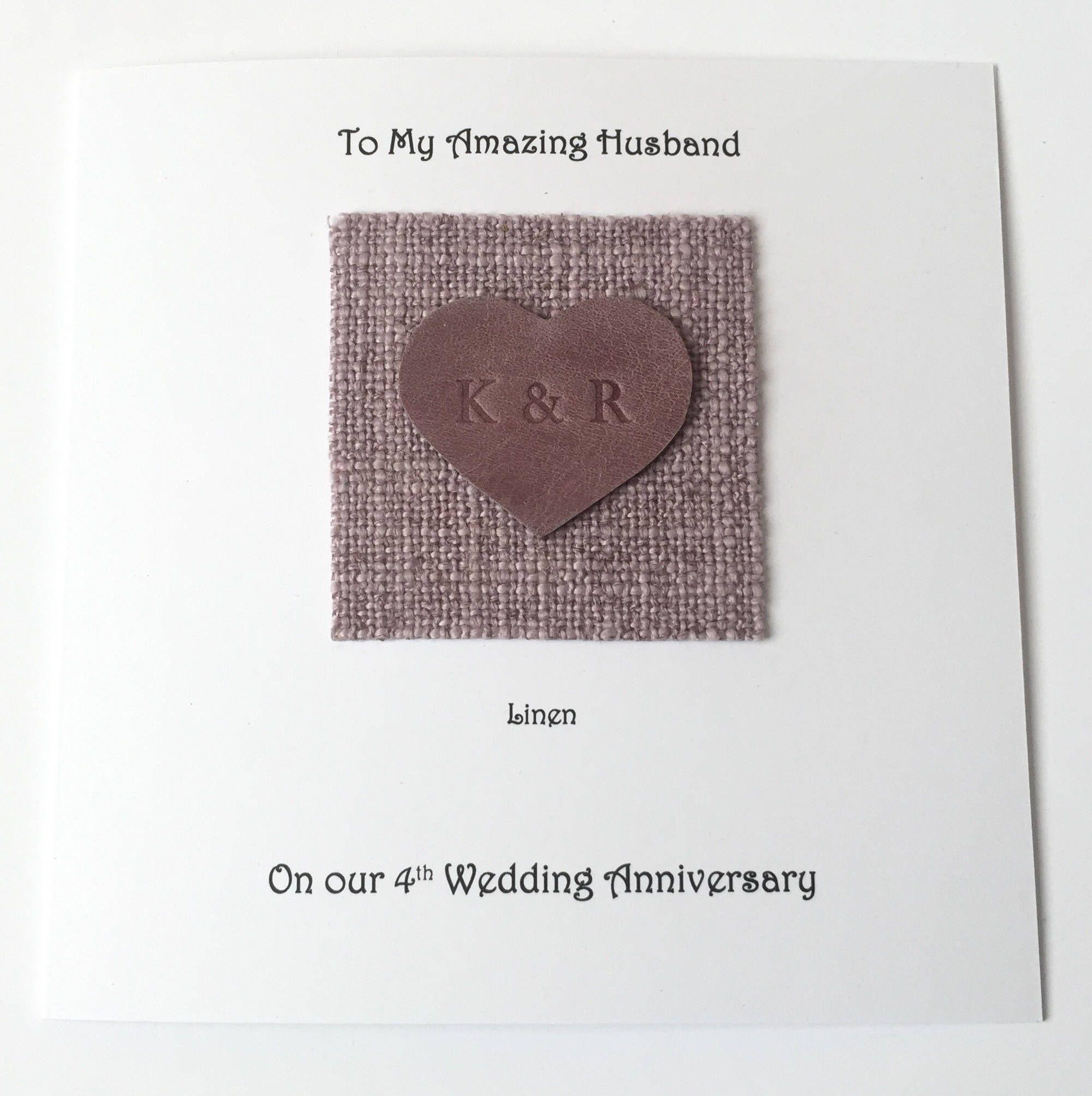 4th wedding anniversary card linen anniversary husband