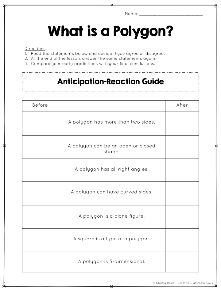 Anticipation Guides Prepare And Motivate Students For Active Learning Ex Polygons Anticipation Guide Creative Classroom Classroom Tools