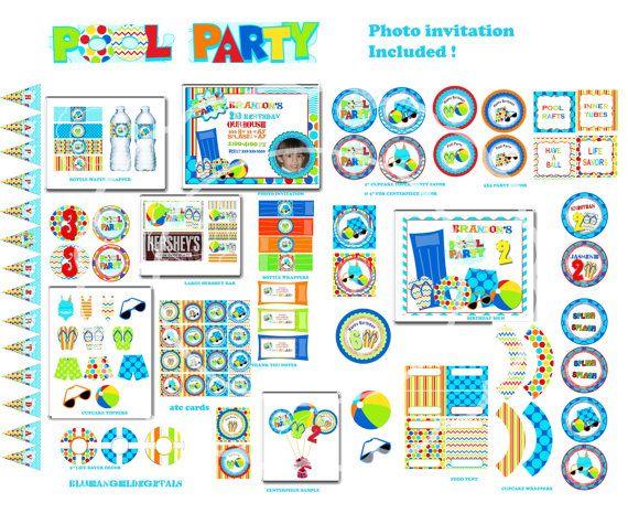 Pool party Pool birthday party Pool invitation pool party pool party - birthday invitation pool party