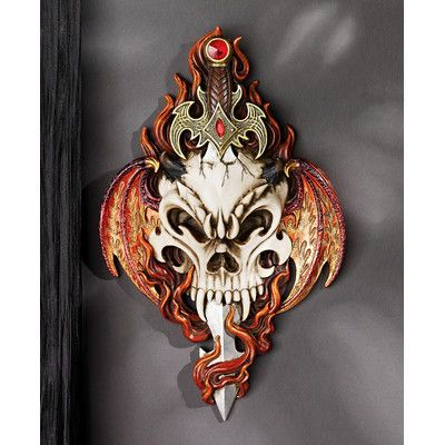 Design Toscano Skull and Sword Gothic Wall Décor