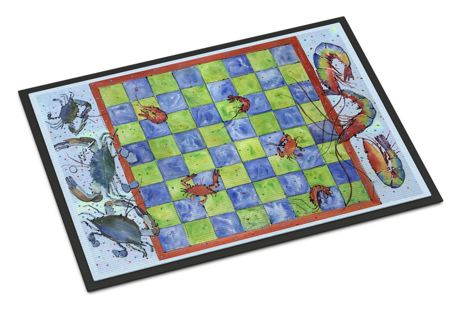 Crab and Shrimp Checkerboard Indoor or Outdoor Mat 18x27