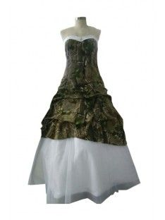 Vintage A-line Sweetheart Ruffles Lace Up Back Long  Camo Wedding Dresses