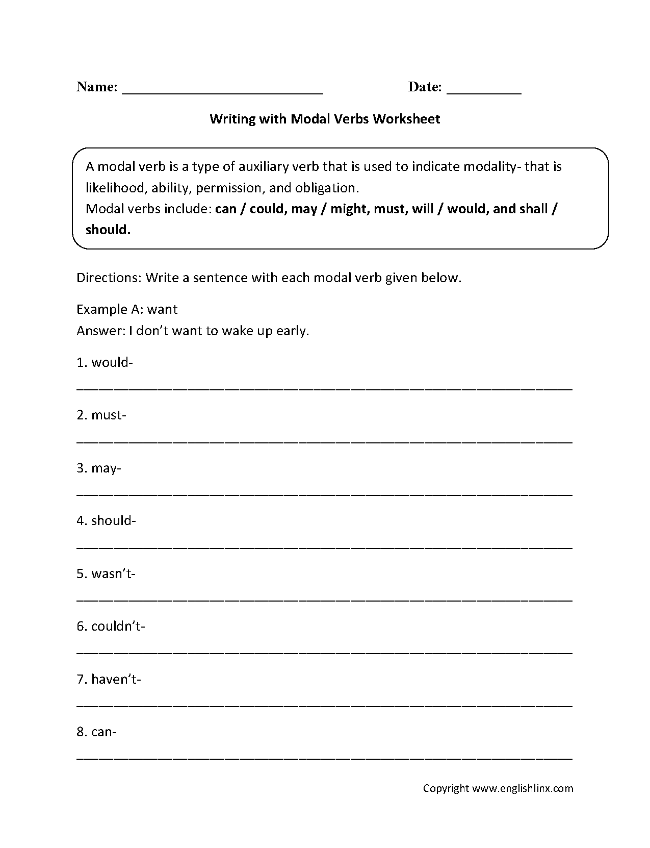 Writing with Modal Verbs Worksheets