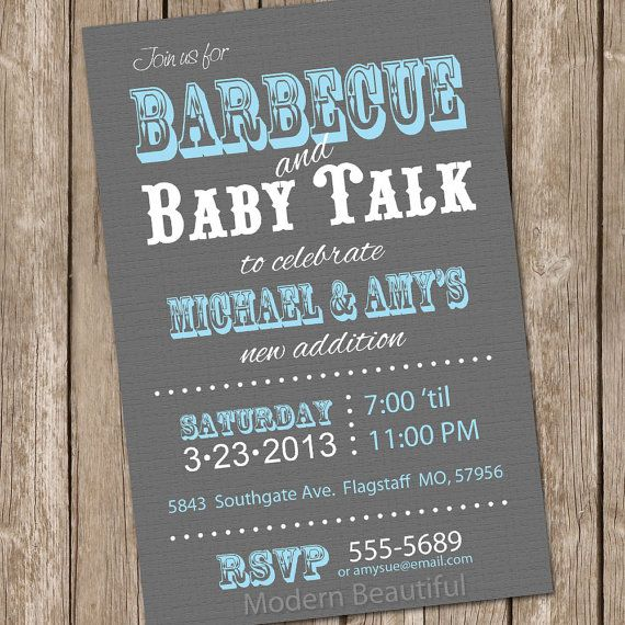 Barbecue baby shower invitation, bbq baby shower invitation, grey ...