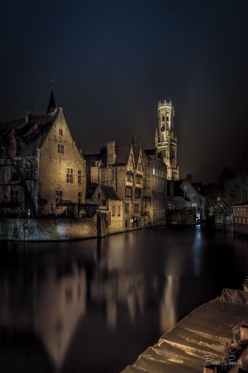 Belfry Of Bruges At Night By Bruno Gauville Great Places To Travel Beautiful Places Places To Go