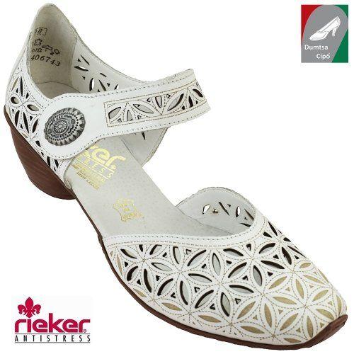 Rieker női bőr cipő 43726-80 fehér  693d947fda