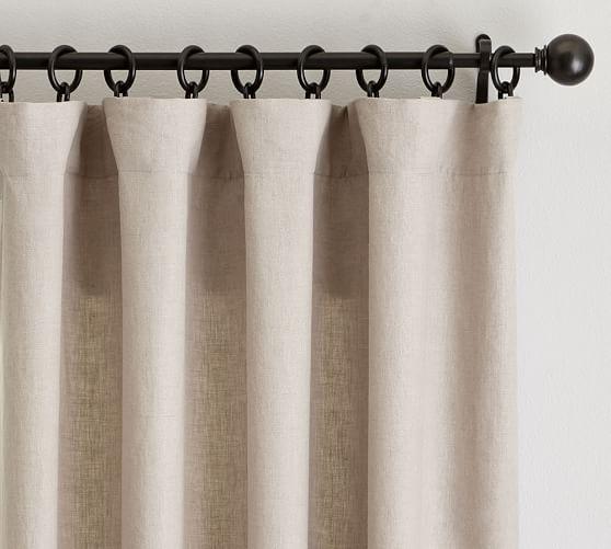 Classic Belgian Flax Linen Blackout Curtain Dark Flax Linen