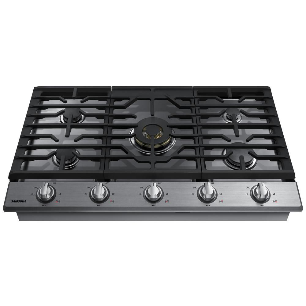 Samsung 36 In Gas Cooktop In Fingerprint Resistant Black Stainless With 5 Burners Including Dual Brass Power Burner With Wi Fi Na36k7750tg The Home Depot Gas Cooktop Cooktop Gas Stove