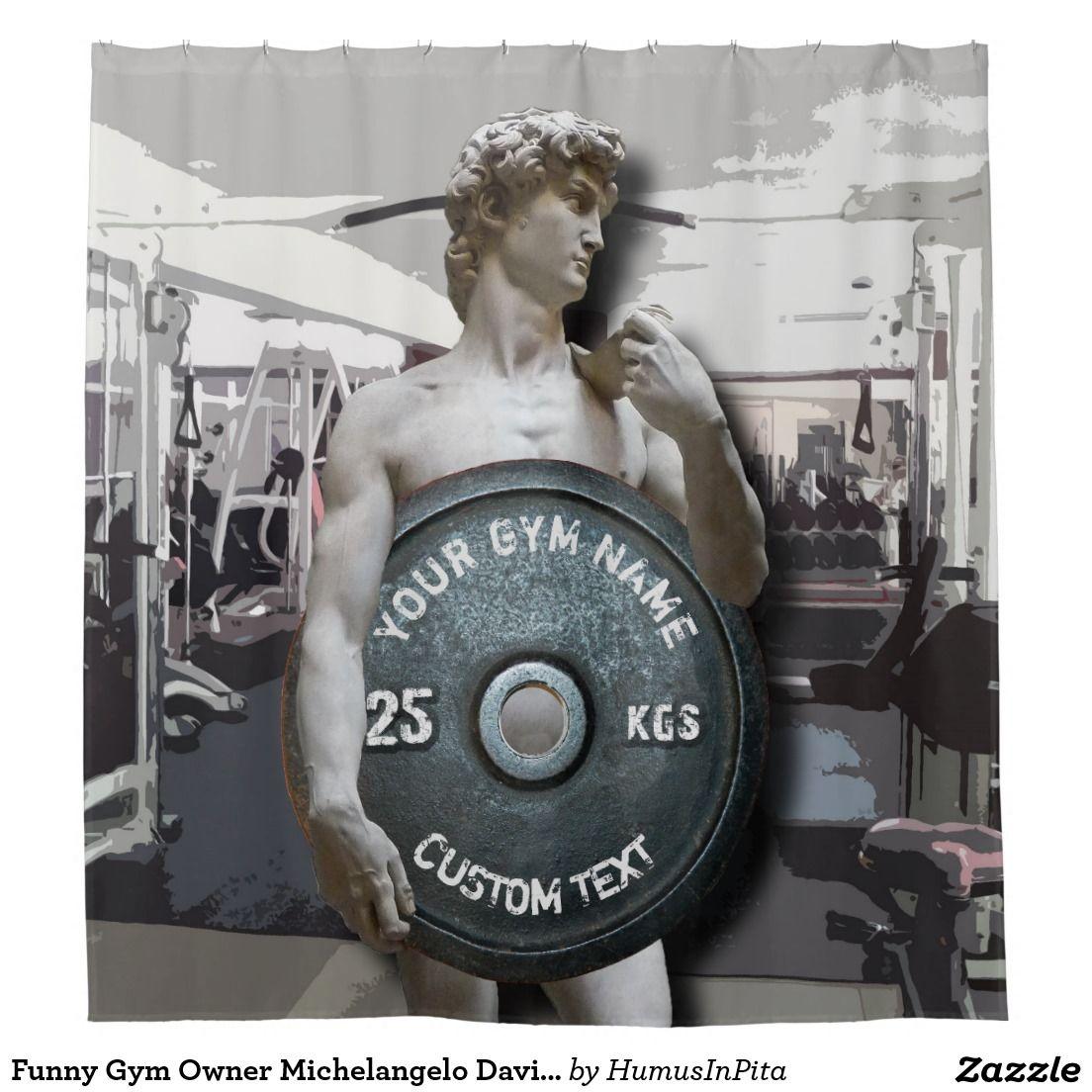 Kraken shower curtain - Funny Gym Owner Michelangelo David Holding Weight Shower Curtain