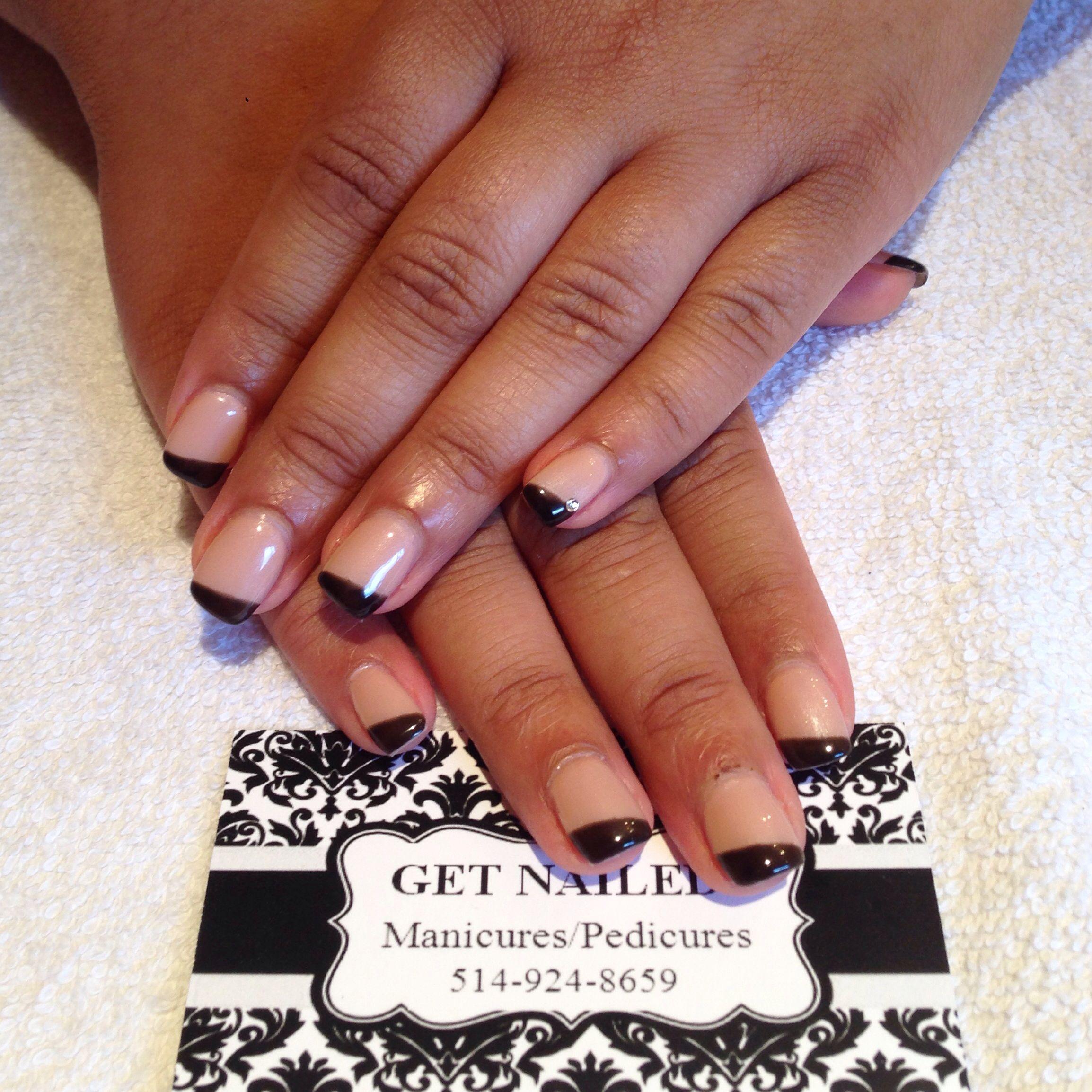 Gel Nails + Nail Art! #gel#getnailed#manicure#hands#nails#nailart#diamond#french#beige#black#tips#cnd#fashion#makeappt<3
