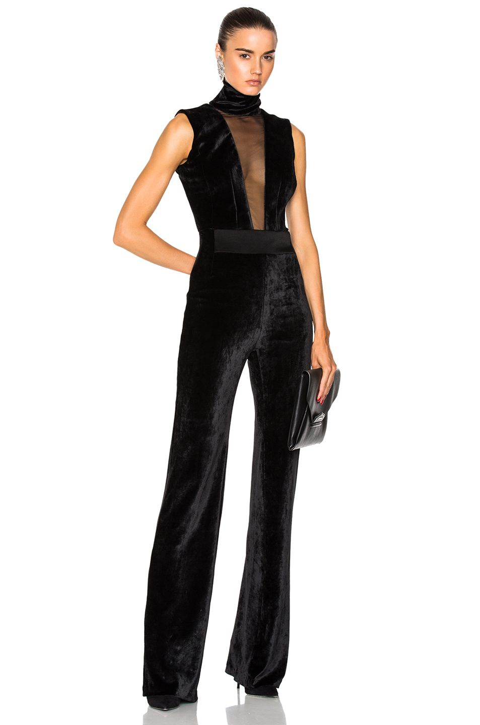dependable performance utterly stylish official shop Image 1 of GALVAN Velvet Plunge Jumpsuit with High Neck in ...