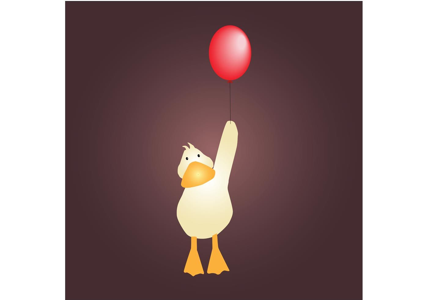 Cute Little Duck With Red Balloon Vector