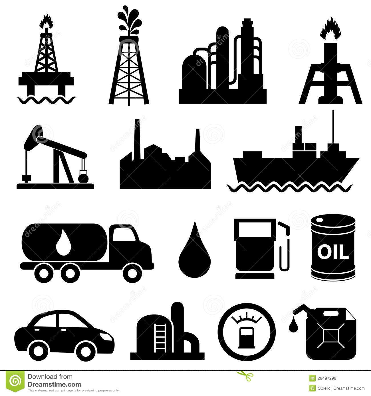 INDUSTRY ENERGY Oil Industry Icon Set Royalty Free Stock