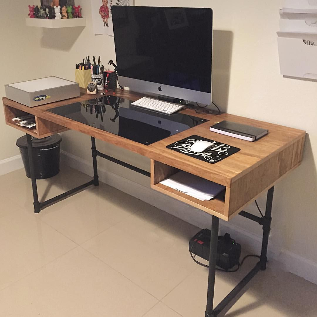 Industrial design desk with steel pipe legs and an for Desk ideas