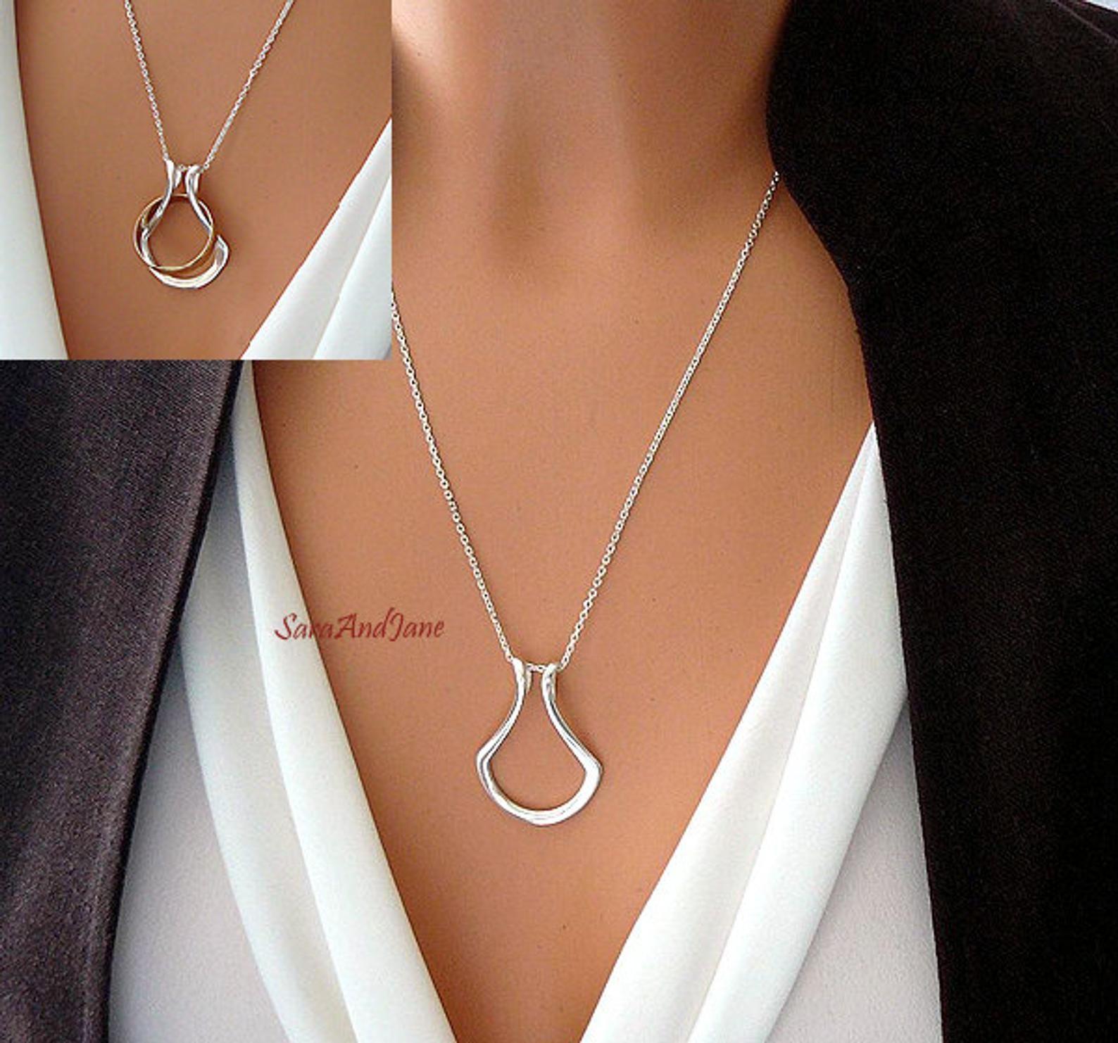 Ring Holder Necklace Silver, Gold, Rose gold vermeil