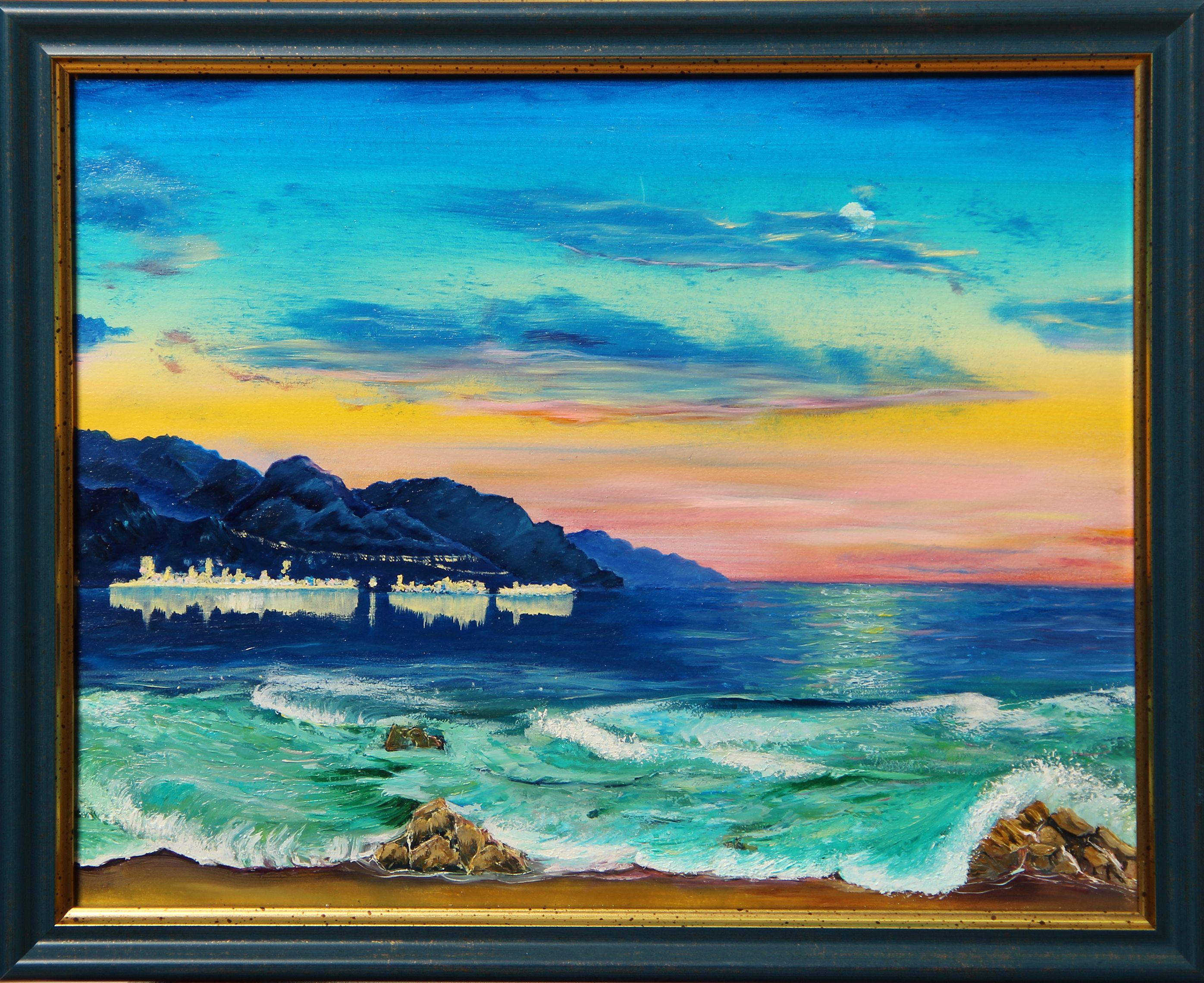 5. Nekrasov AD Evening. 25  30  0.3 cm. Oil on primed hardboard. In frame.