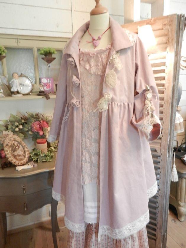 Robes mi-longues, MANTEAU GLYCINE ROSE est une création orginale de Froufrou-la-bourge sur DaWanda