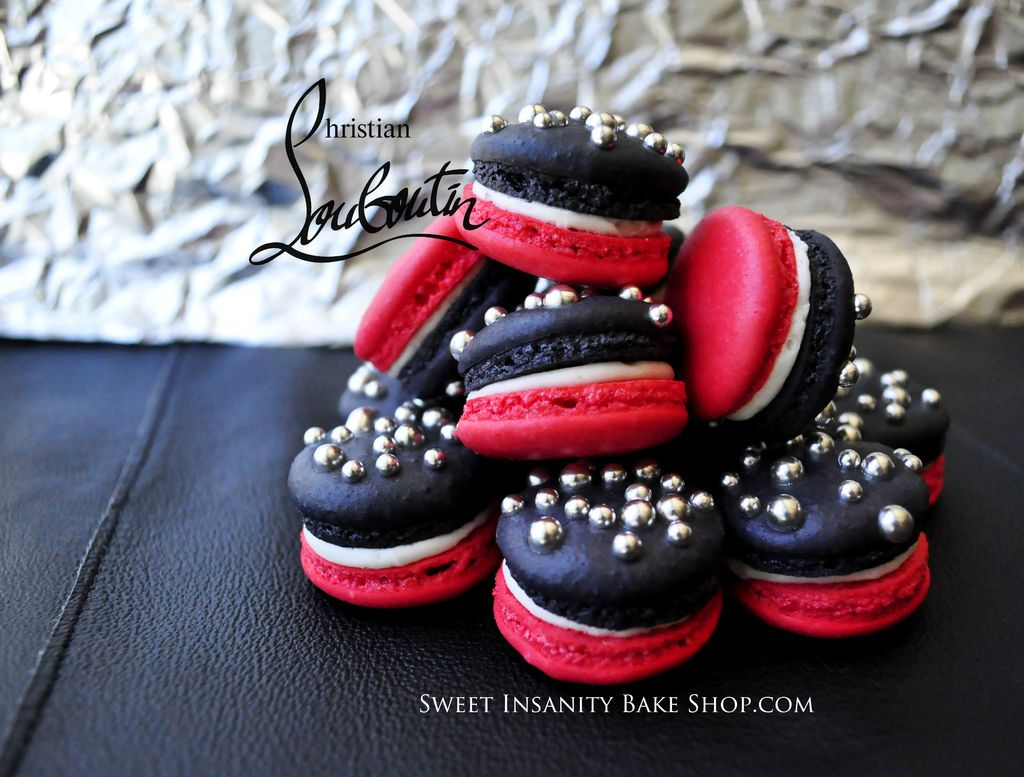 Christian Louboutin inspired French Macarons ! Red, Black and Studded. By Sweet Insanity Bake Shop