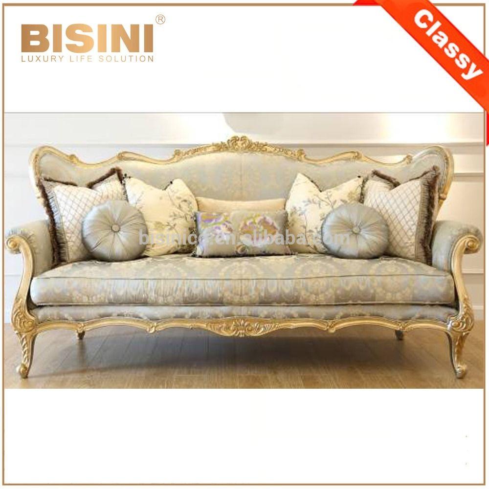 French Royal Golden Frame Solid Wood Living Room Sofa Set Elegant